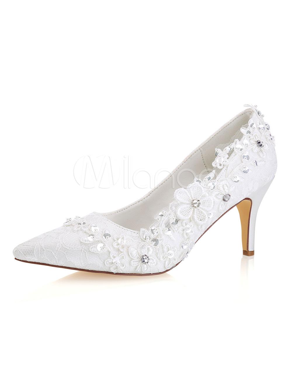3e6e4181409 Ivory Wedding Shoes Lace Pointed Toe Rhinestones High Heel Bridal ...