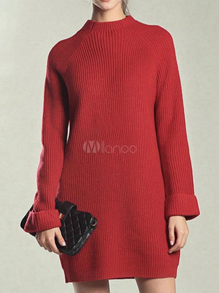 65b4abd5470 Женское красное платье с длинным рукавом Jewel Neck Shift Трикотажное платье-No.1  ...