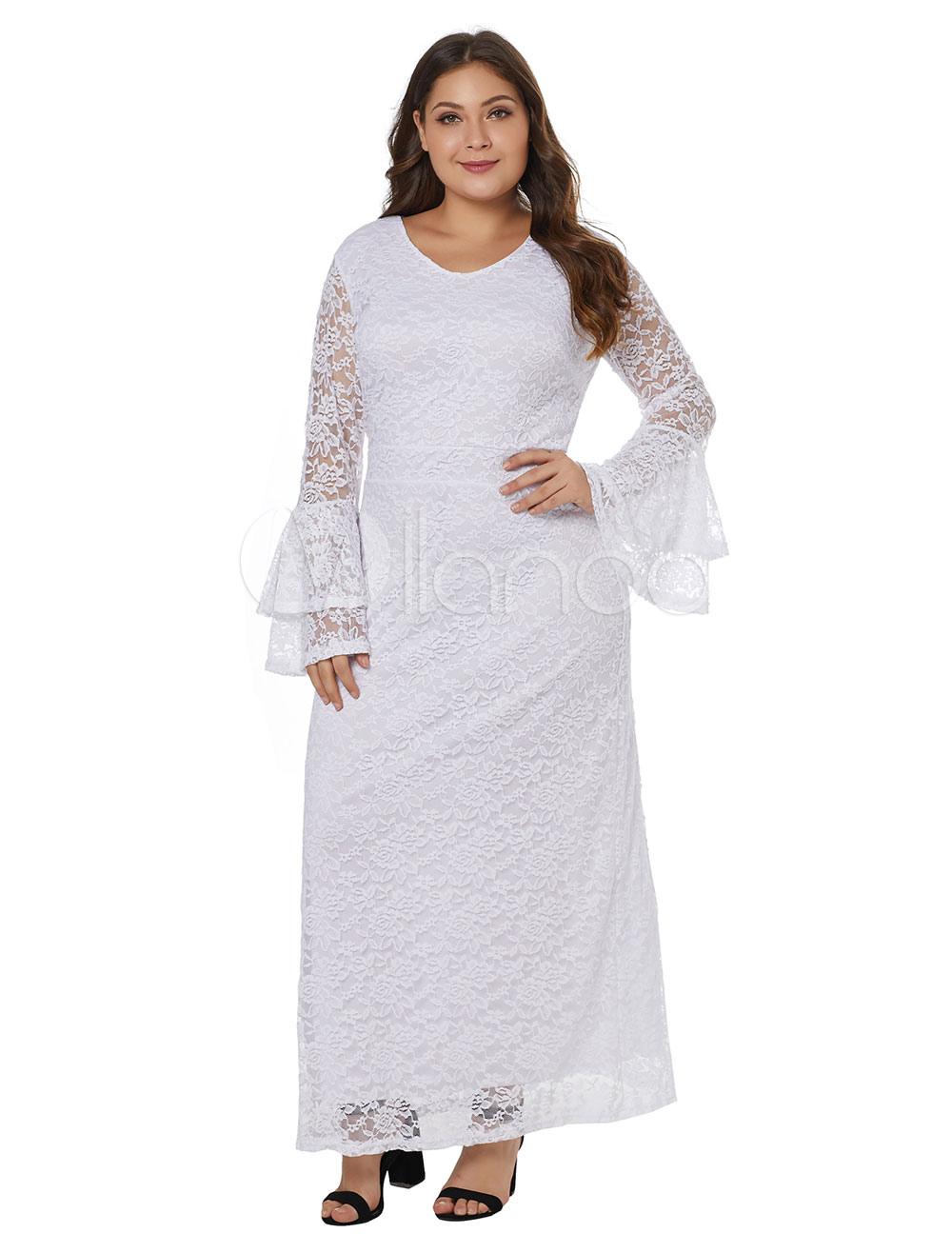 37f047315158 ... Plus Size Maxi Dress White V Neck Long Sleeve Lace Dress-No.5. 1.  35%OFF. Color: AddThis Sharing Buttons