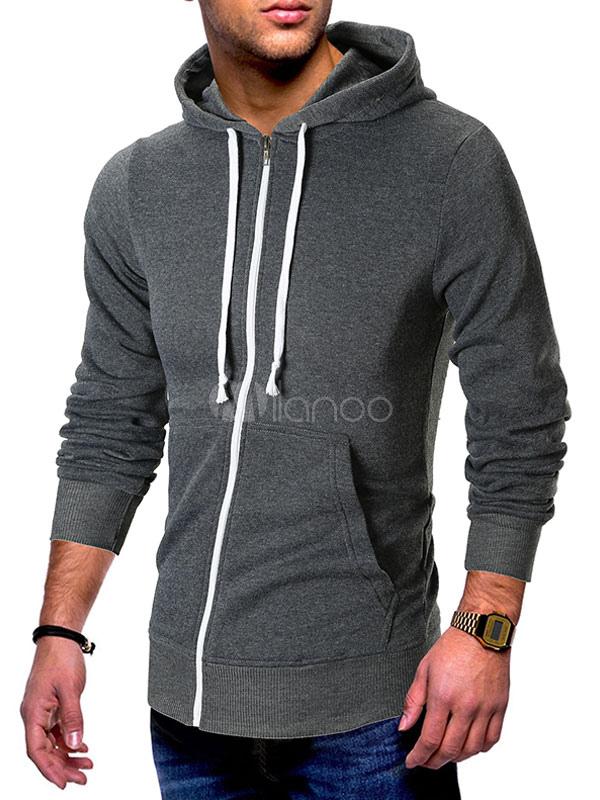 Sudadera con capucha de manga larga Piping con capucha con cremallera frontal abierta Hombres Casual Sudadera con capucha