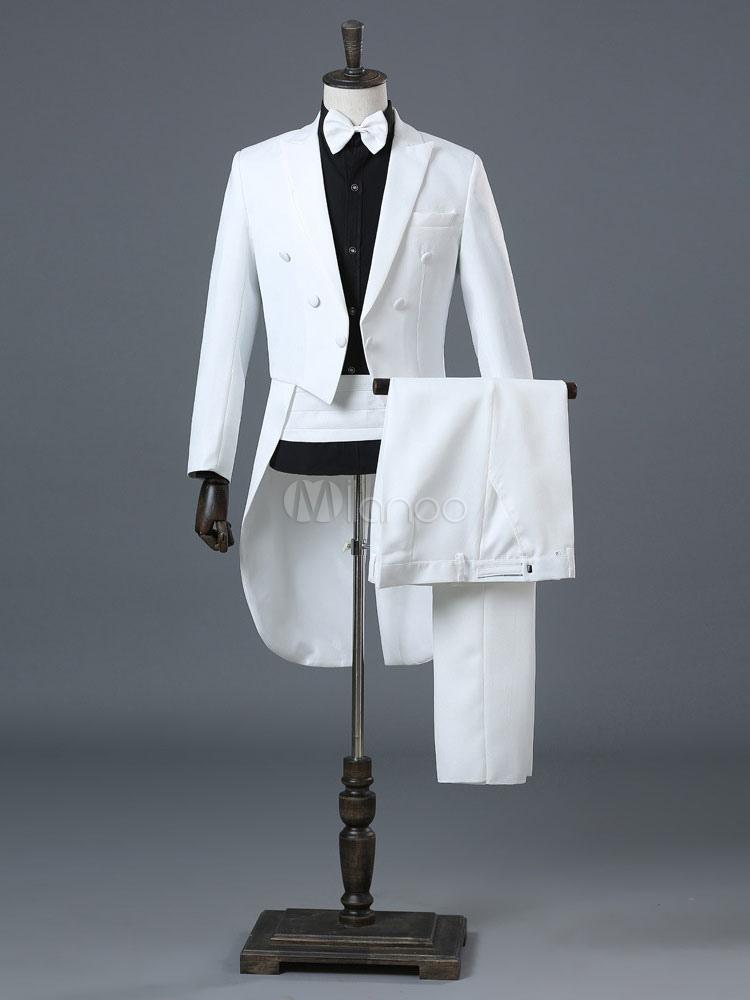 Manteau à Queue de Morue 2019 Costume de Marié Blanc Vintage Rétro Costume  Halloween-No ... 677fc6f16c0