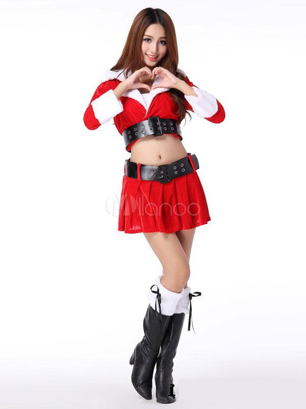 eaea3af8da90 Costume Natale 2019 Costume da Babbo Natale da Donna Vestito Rosso con Top  Contura-No ...