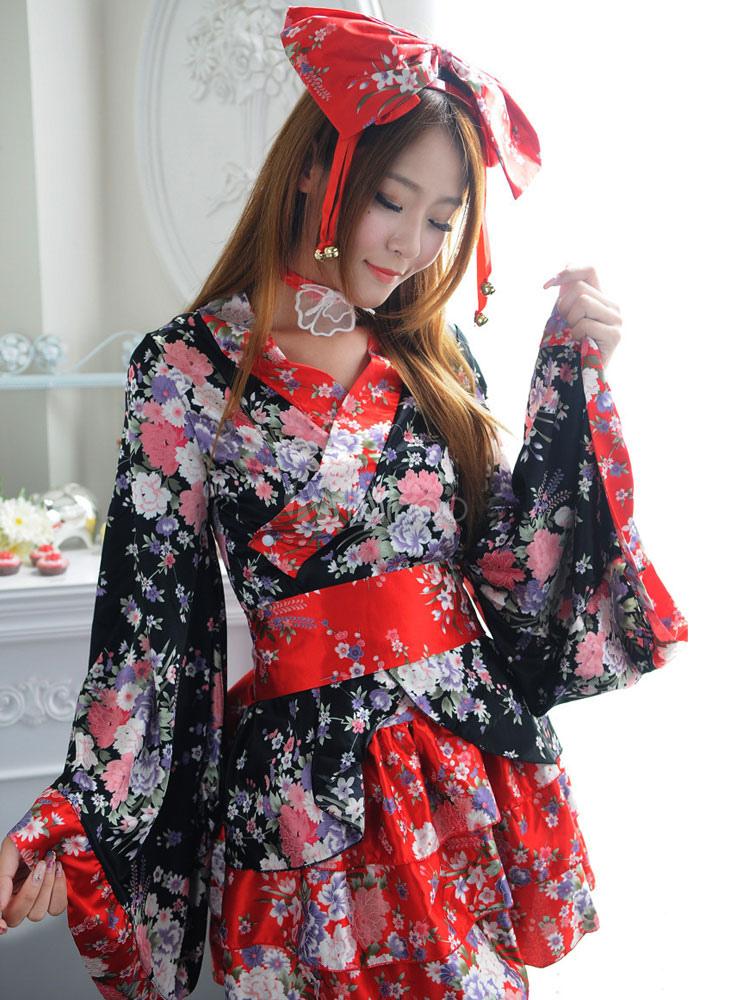 a4b601b1aeb7 Japanese Kimono Costume Female Black Short Lolita Dress Maid Cosplay Anime  Set