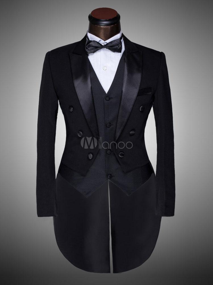 Manteau à Queue de Morue 2019 Costume de Marié Noir Rétro Costume  Halloween-No. b0995b2e4f0