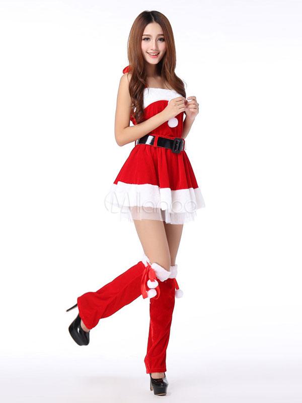 ... Costume Natale 2019 Costume da Babbo Natale per Donna Vestito Rosso in  Velluto Senza Spalline- ... 674607ac4d0