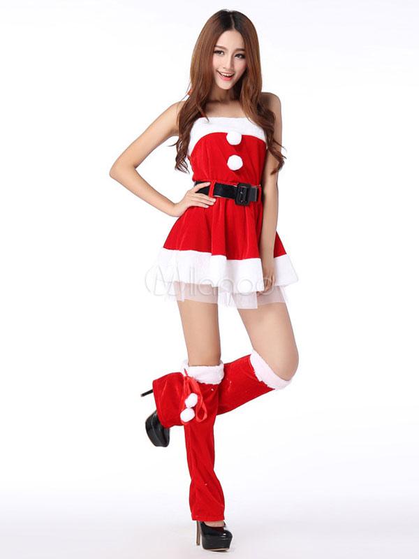 ae3a53c9e94b Costume Natale 2019 Costume da Babbo Natale per Donna Vestito Rosso in  Velluto Senza Spalline- ...