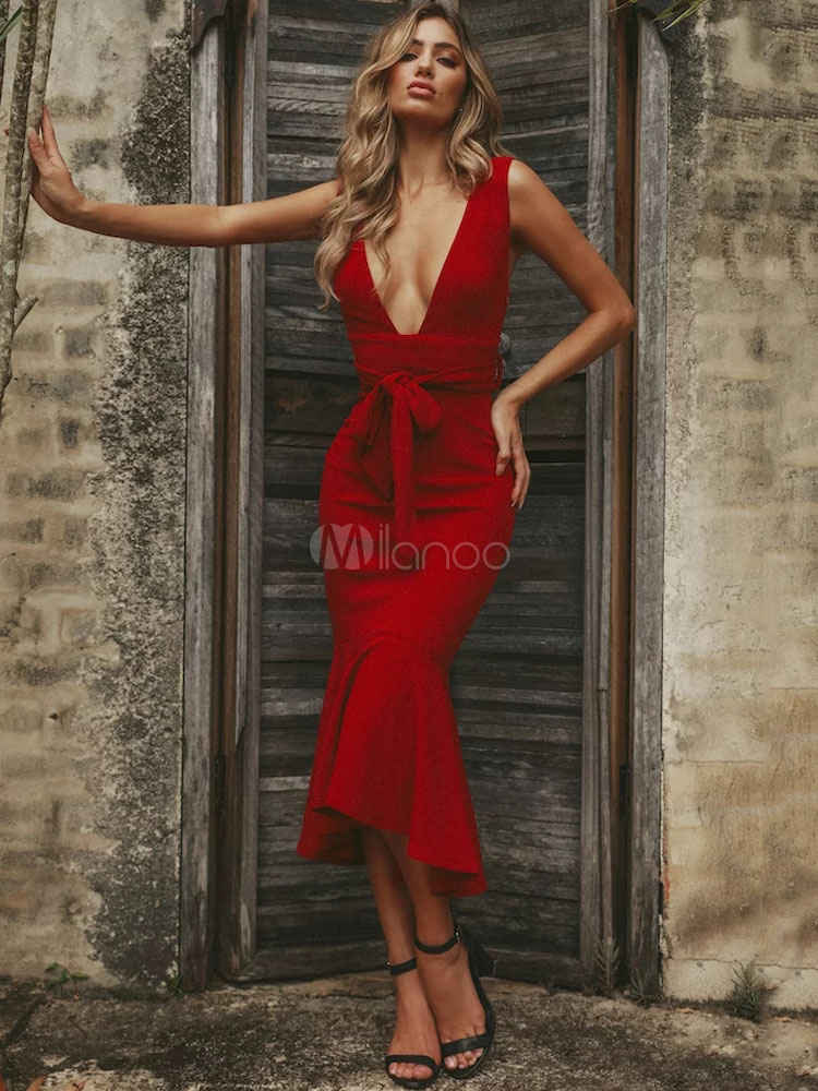 Rot Tiefer Kleid Kleid Sexy Party Langes Kleid Bodycon TKJF1ul3c5