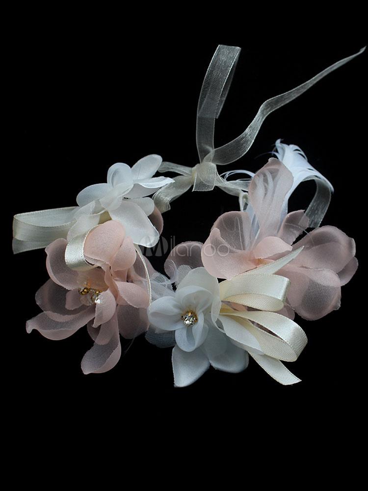 Wedding Flower Crown Set 2 Piece Pink Silk Flowers Wrist Corsage And