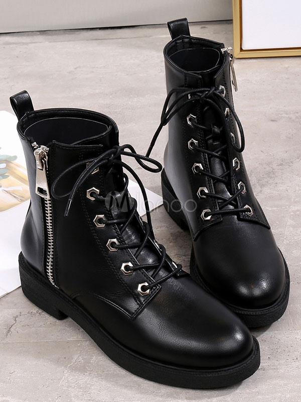 Frauen Kampf Stiefel Schwarz Knöchel Stiefel Runde Zehe Reißverschluss Detail schnüren sich oben flache Aufladungen