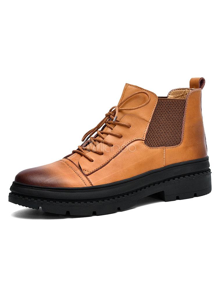 7411f6b99 أحذية الكاحل براون جلد البقر جولة اصبع القدم الدانتيل يصل أحذية الرجال  أحذية الشتاء-No ...