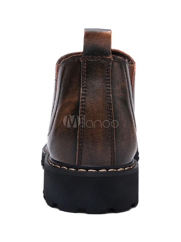 Vache Bout Rond Hommes D'hiver Peau 2019 Marron De Chaussures Lj345AR