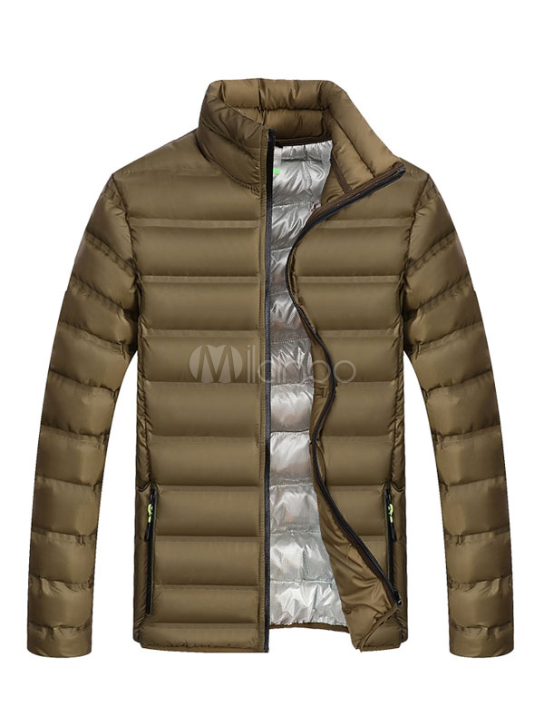 Men Puffer Coat Stand Collar Plus Size Quilted Jacket Zipper Long Sleeve Casual Winter Overcoat