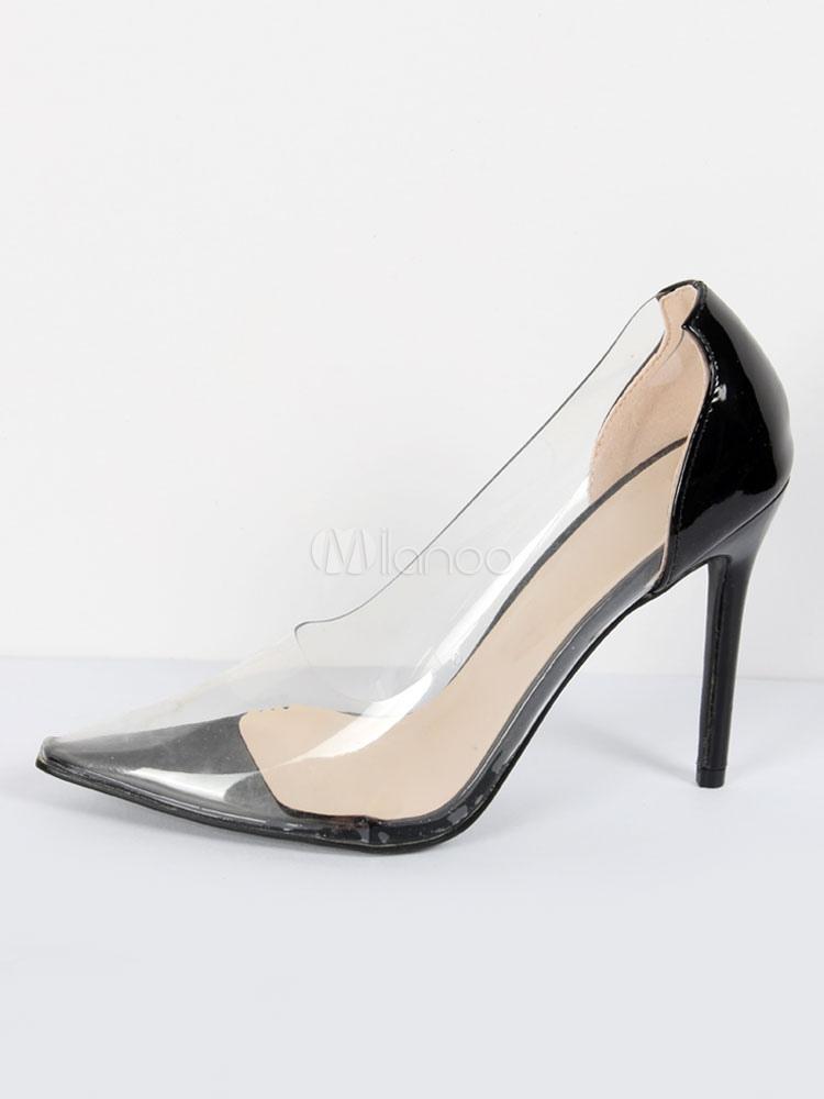 058a2180e05730 Schwarze High Heels Frauen Spitz Transparent Slip On Pumps - Milanoo.com