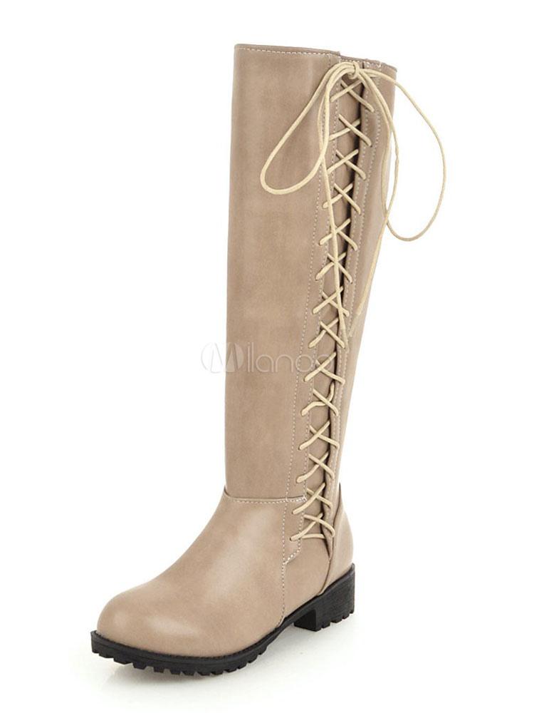 d16d13a2 ... Botas altas hasta la rodilla negras Botas con cordones de punta redonda  para mujeres Botas planas ...