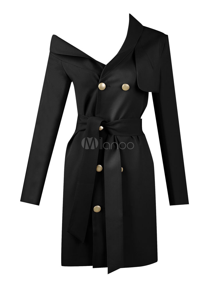 1c1e258a2f5 Sexy Party Dress Black Long Sleeve Asymmetrical Double Breasted Buttons  Bodycon Blazer Dress-No.