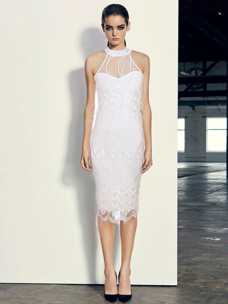 54fbaeef92 Vestido blanco de las mujeres sin mangas del halter vestido bordado  consciente del cuerpo-No ...