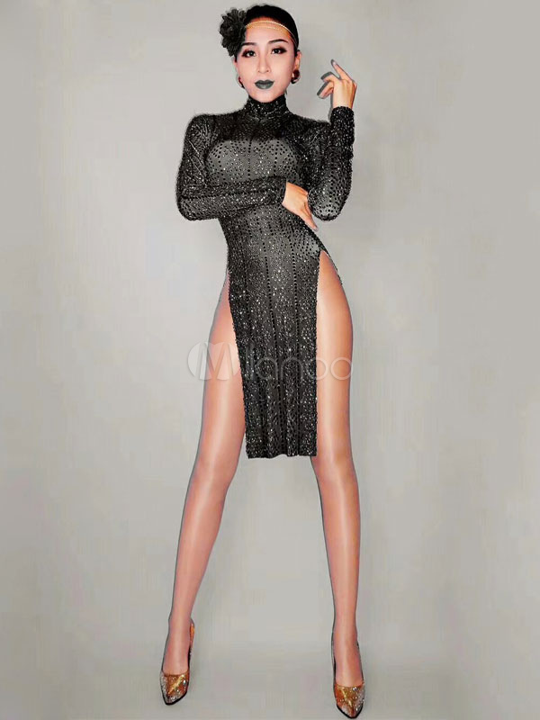 b7b944de Jazz Dance Costume Sexy Women Black Sequin Slit Long Sleeve Night Club  Wear-No.