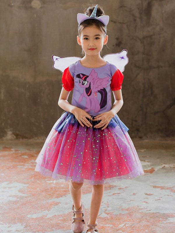 Vestidos Unicornio Traje De Halloween Para Niñas Traje Púrpura De 3 Piezas 2019