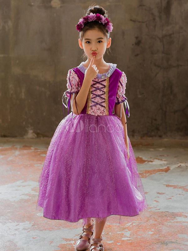 32bd9ab758b7a Costume Princesse Halloween Enfants Robe Cosplay Disney Robes Mauves-No.1  ...