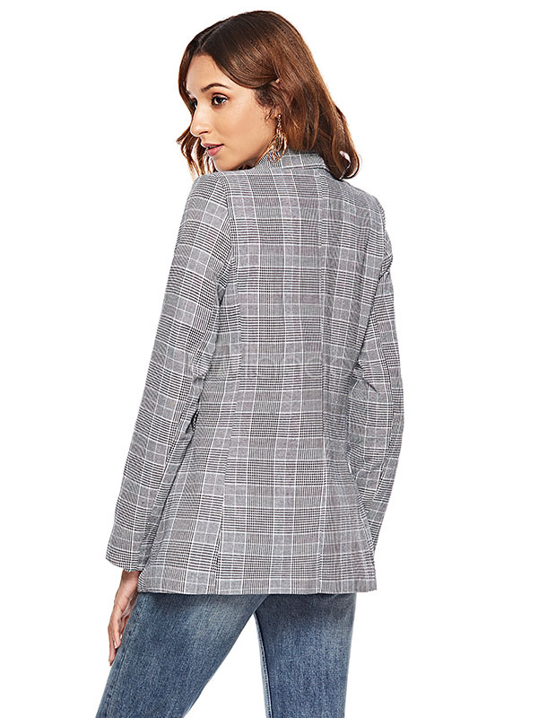 mejor sitio web ba639 7a004 Blazers de tela escocesa de mujer Bolsos descubiertos Bolsillos de manga  larga Blazer gris Chaqueta