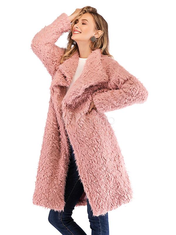 nuevo concepto 61876 c6657 Abrigo de peluche de color rosa para mujer, manga larga, frente abierto y  suave de piel sintética