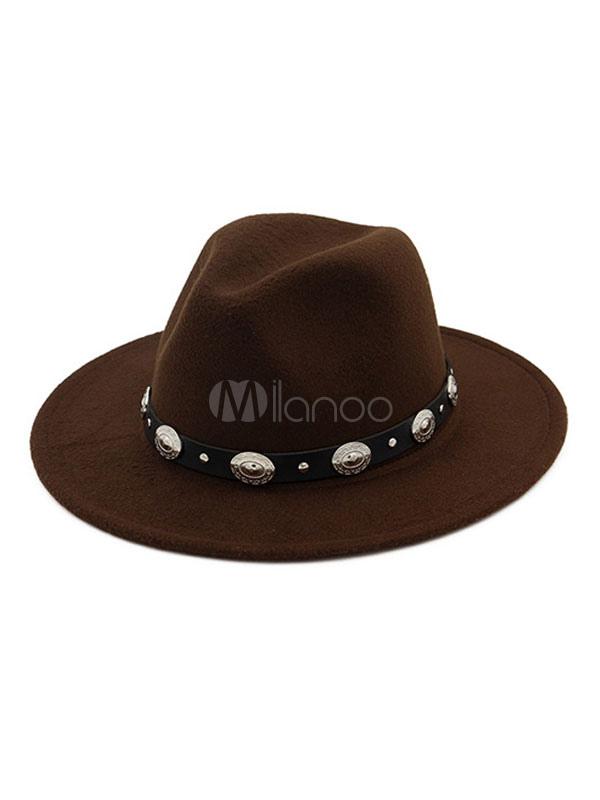 Men Fedora Cap Metal Detail Western Style Wool Bowler Hat - Milanoo.com 00000a6d0ae