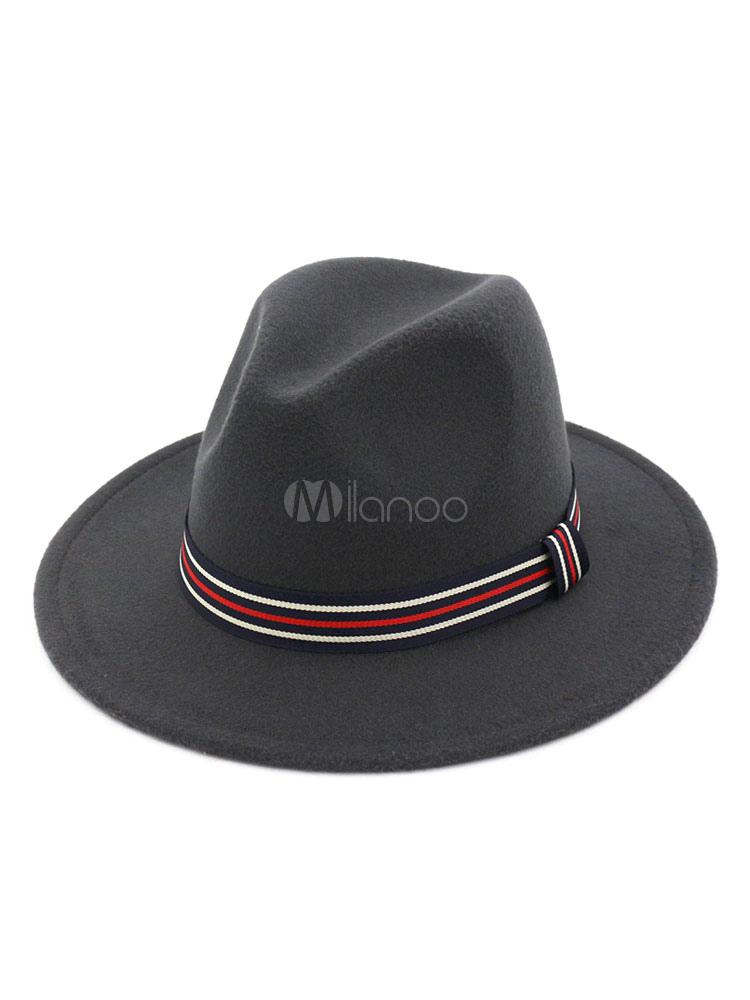 Wool Fedora Hat 1920s Stripe Western Style Men Bowler Hat - Milanoo.com 828c5a7a1bf