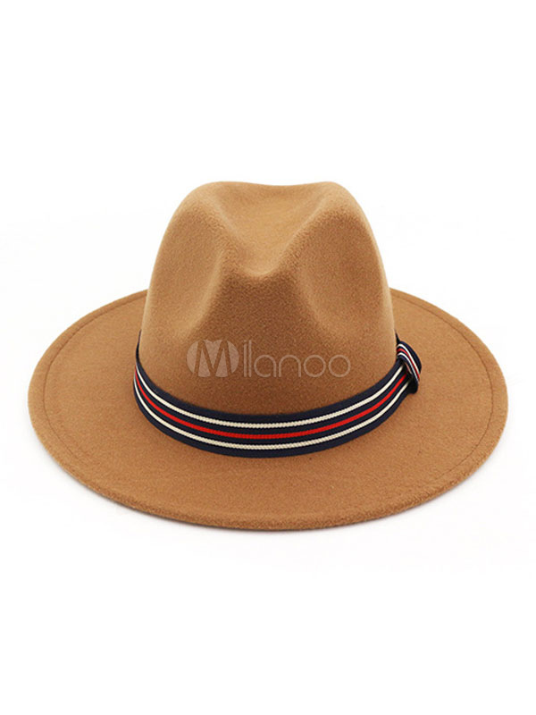 Wool Fedora Hat 1920s Stripe Western Style Men Bowler Hat - Milanoo.com 134e62f766d