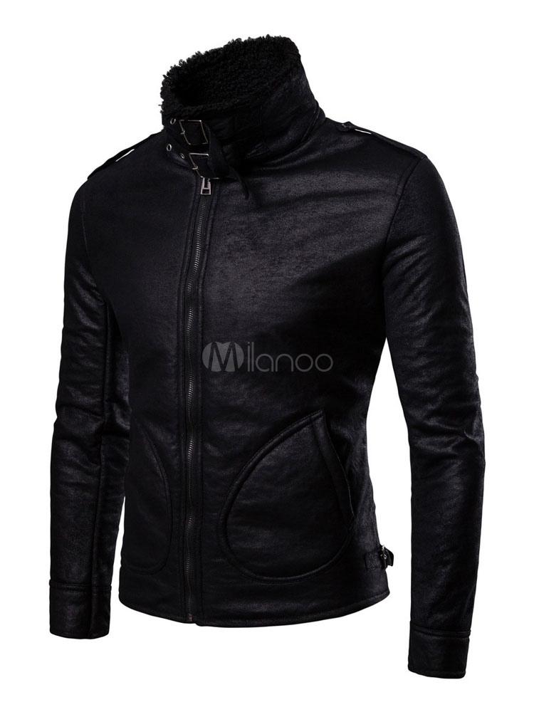 Schwarze Lederjacke Faux Pelzkragen Winterjacke Metallische Schnalle Reißverschluss Herren Biker Jacke