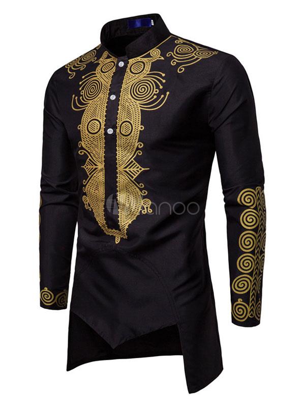 New Mens Spring Long-Sleeved Shirt African hot Stamping Mens Shirt