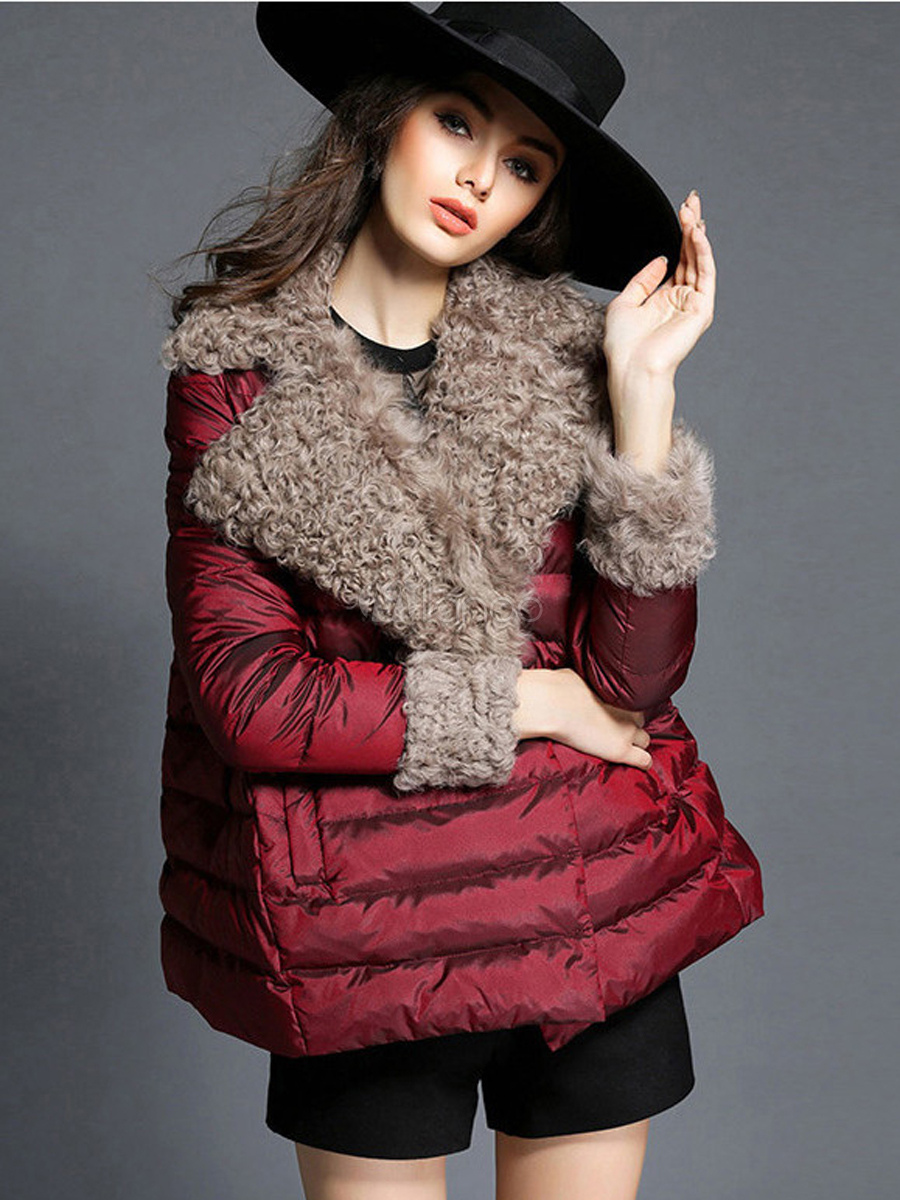 c777abb550b Women Puffer Coat Faux Fur Collar Winter Coat Cotton Fill Bubble Coat-No.1  ...
