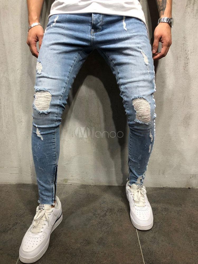 7a8994468f Jeans Rasgados de Hombre 2019 Afligido Azul Forma Cónica Denim Jeans-No.1  ...