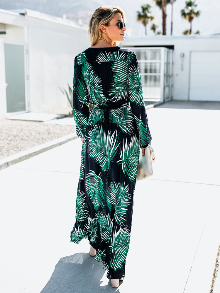 58d93678d9 ... Women Maxi Dress Long Sleeve V Neck Tropical Print Resort Dress-No.3