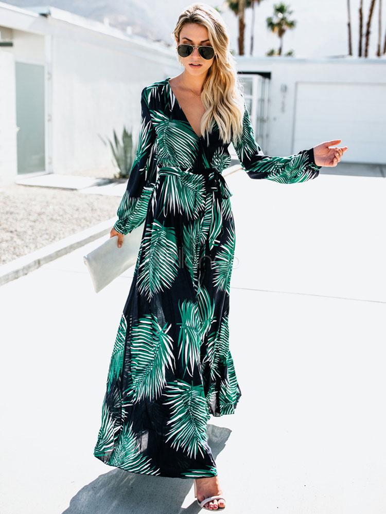 2140b36381 Women Maxi Dress Long Sleeve V Neck Tropical Print Resort Dress-No.1 ...
