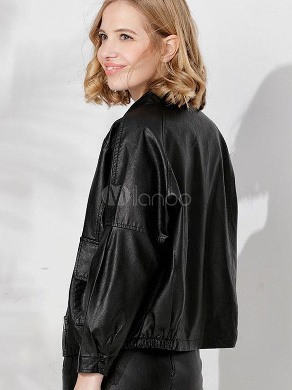 on sale 8736a 173f8 Giacca da donna in pelle nera con bottoni a manica lunga con bottoni