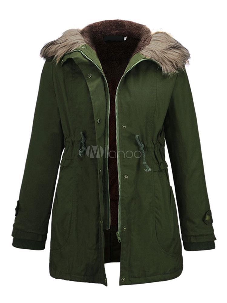 Cappotto Parka donna Cappotto in pelliccia sintetica con cappuccio Cappuccio invernale con coulisse