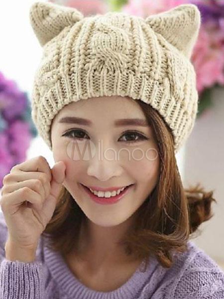 b0f648aa65bf6 Cat Ear Beanie Hat Cable Knit Winter Cap - Milanoo.com