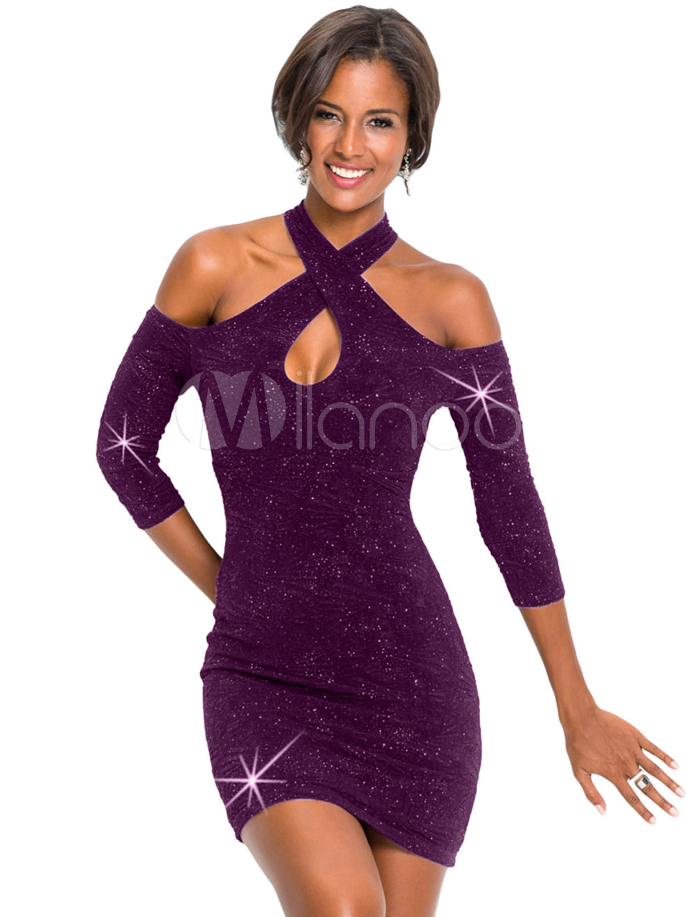 b89bd31aeb0 Sexy Club Dress Glitter Bodycon Dress Purple Halter Cut Out Going Out  Dresses