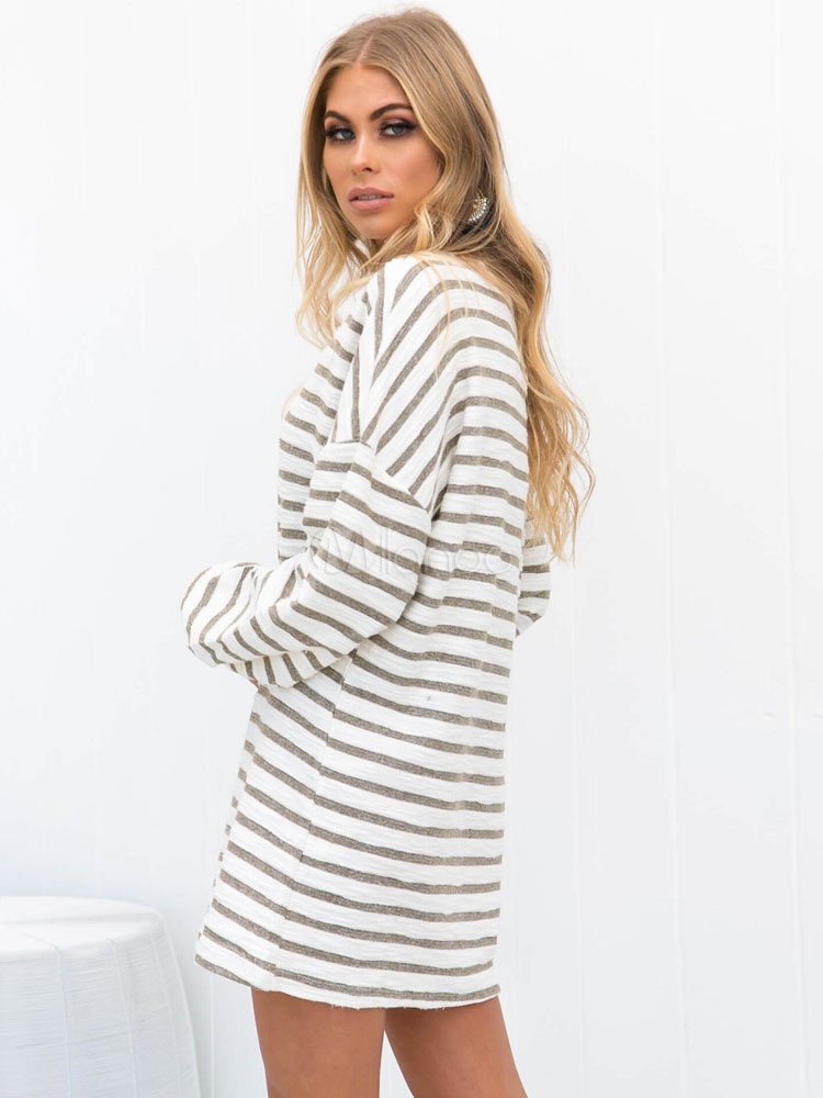 83491ec01683 ... White Shift Dress Long Sleeve Striped Oversized T Shirt Dress-No.2 ...