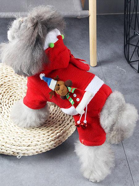 Christmas Dog Costumes.Christmas Dog Costume Flannel Santa Claus Red Cat Pet Costumes