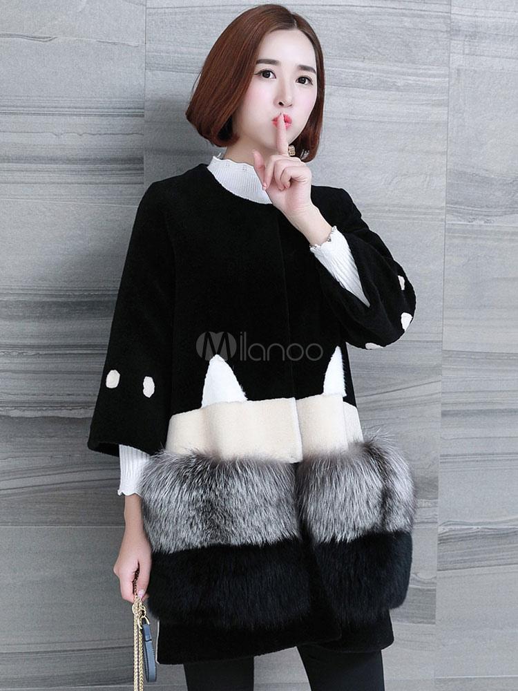 Abrigo de piel para mujer Abrigo de invierno de piel de zorro peludo de  manga tres cuartos