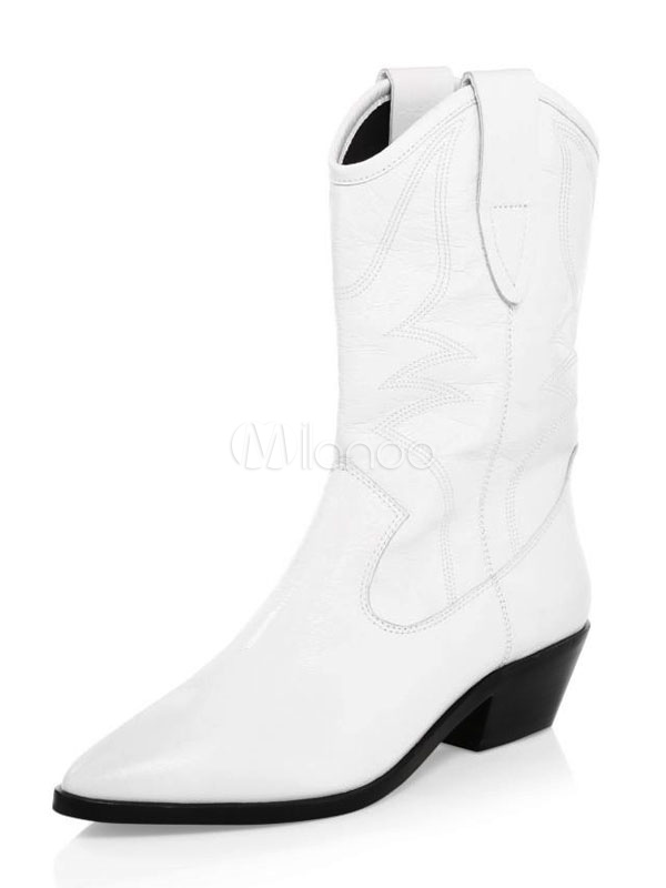 Bottes Femmes 2019 Blanc Cowgirl Bout Pointu Talon Épais Bottines
