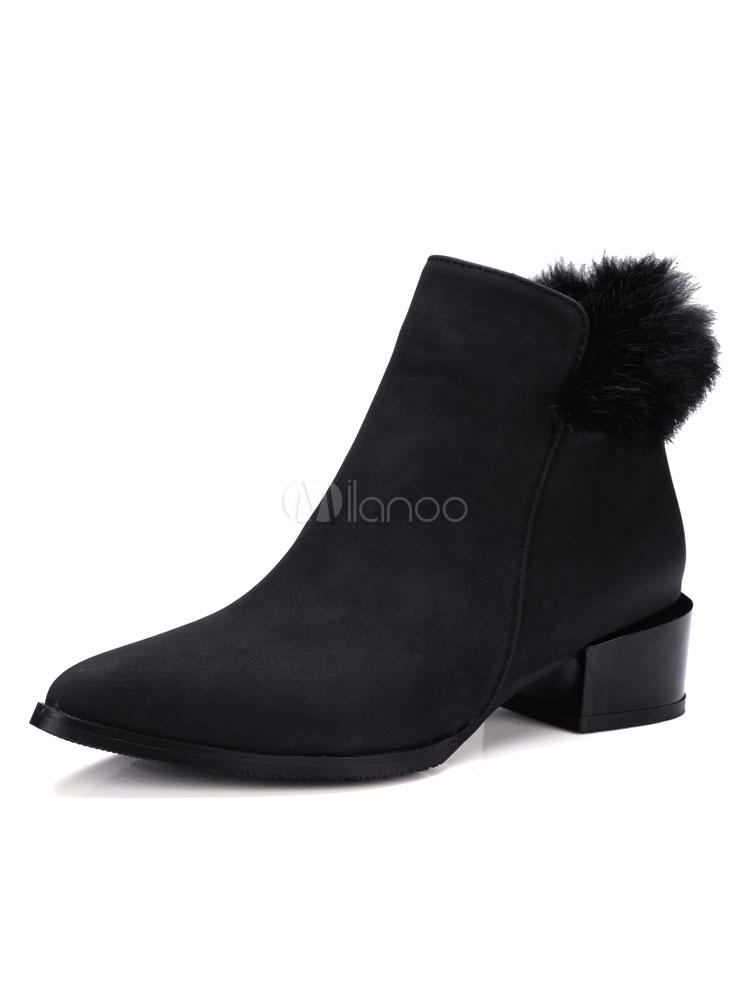 060e9ebf45 Suede Ankle Boots Black Pointed Toe Fur Detail Zip Up Booties Black Winter  Shoes-No ...