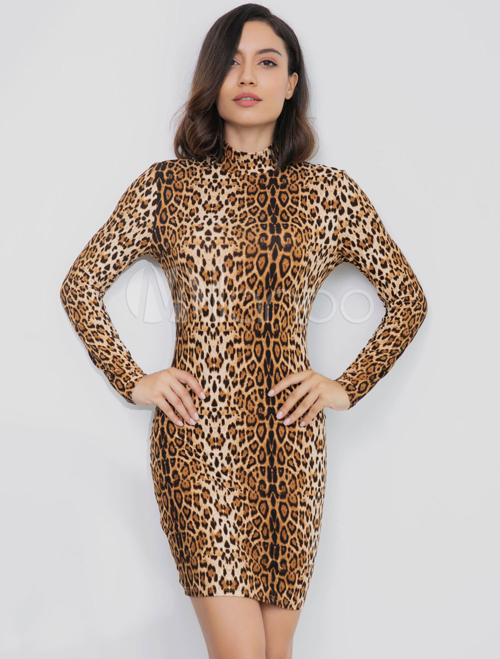 06c287df0a0e Leopard Bodycon Dress Long Sleeve Stand Collar Sexy Midi Dress For ...