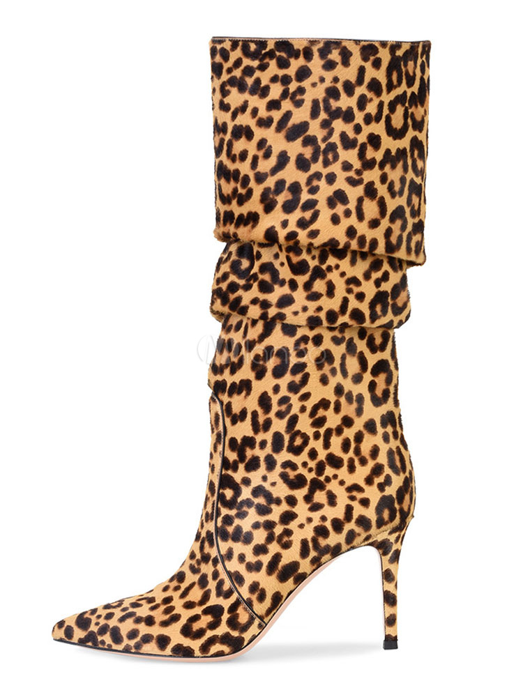 Women Slouch Boots Horse Hair Pointed