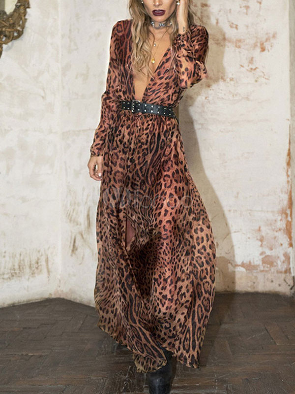 Maxi Vestido Con Manga Escote Leopardo De Pronunciado Larga sdtQrh