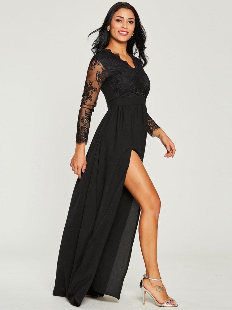 Frauen Schwarzes Langes Kleid Illusion Ärmel Hohe Aufgeteilte Spitze Und Chiffon Sexy Kleid