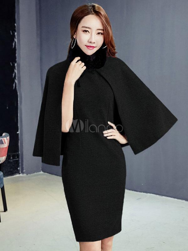 robe moulante en laine pour femme avec cape de cape. Black Bedroom Furniture Sets. Home Design Ideas