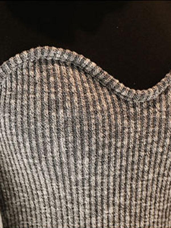 defa66e186 Bodycon Maxi Dress Long Sleeve Two Tone Slit High Collar Women Sweater Dress -No.