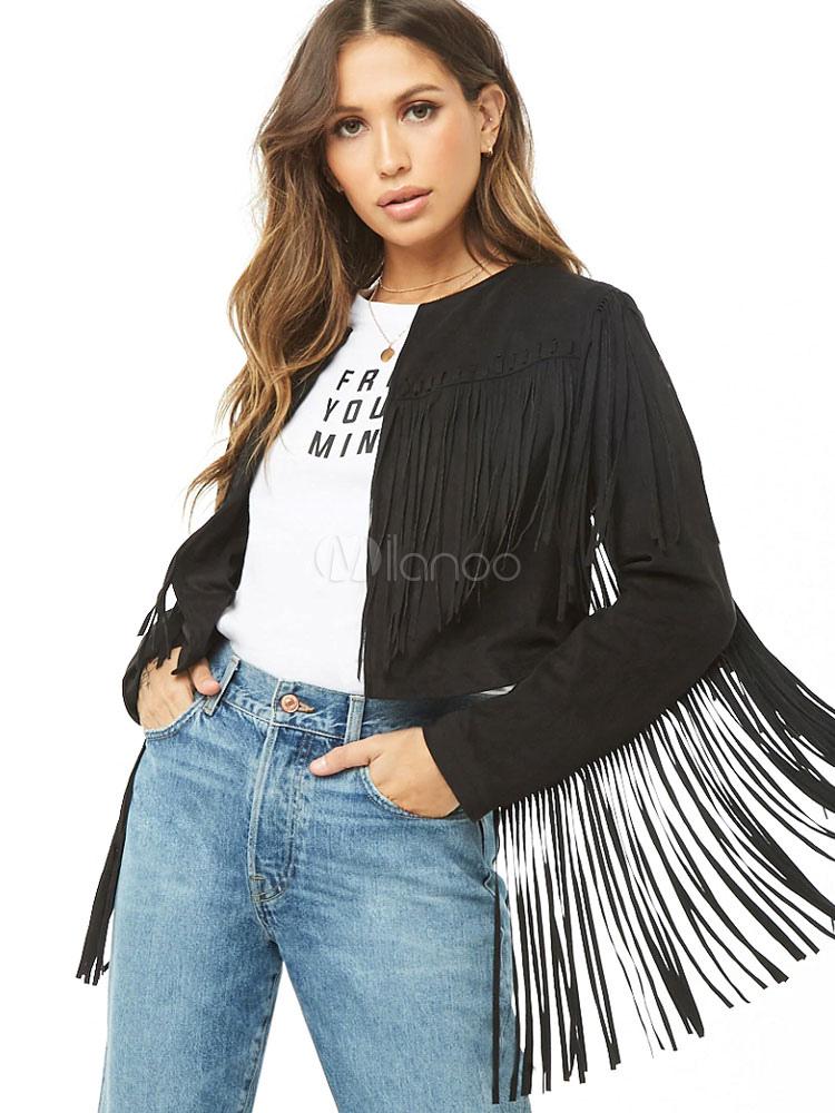 purchase cheap eb19f 4c8e9 Giacca da donna a manica lunga con frange e giacca nera da cowboy